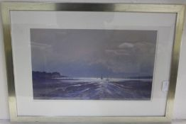 """Keith Shone (B1931), """"Red Wharf Bay"""" and another riverside scene, signed pastels, housed in silvered"""