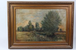 Charles H. Hind? riverside scene with figure and cattle, indistinctly signed oil on canvas, housed