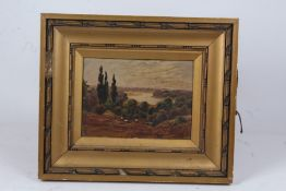 """ET, """"the River Thames from Richmond Hill"""", initialled oil on board, titled verso, housed in a gilt"""