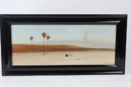 J.F. Canham, desert scene with figures and camel to the foreground and building silhouettes to the