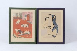 Two George Nicholson limited edition prints, piglets in a yard, 17/200, penguins 18/200, housed in