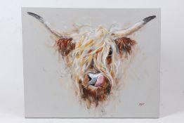 John Ryan, face of a highland cow, signed acrylic on canvas, unframed, 49.5cm x 40cm