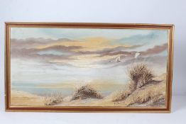 G.T. Bassant, swans flying over a dune, signed oil on canvas, housed in a gilt frame, the oil 79.5cm