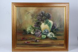 K. Scott, still life study of hydrangeas in a vase with cherries to the foreground, signed oil on