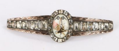 18tch Century paste set buckle, the central oval panel with depiction of a tied ribbon above a