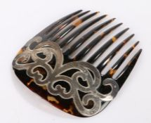 Silver mounted faux tortoiseshell hair comb