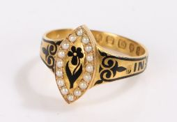 Victorian 18 carat gold mourning ring, the oval seed pearl set head with central black enamel