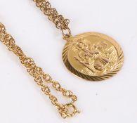 9 carat gold St. Christopher pendant on a 9 carat gold necklace, 8.9g