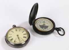 Silver open face pocket watch, the white enamel dial with Roman numerals and subsidiary seconds