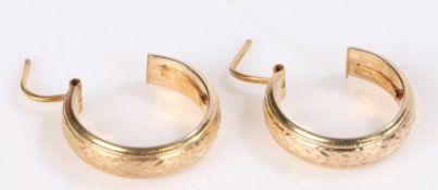 Pair of 9 carat gold 3/4 hoop earrings, 2.5g