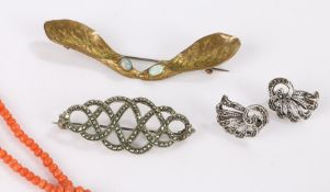 Gold coloured metal sycamore leaf brooch set with two opals, coral bead necklace, marcasite brooch