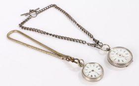 Continental silver open face pocket watch, the enamel dial with Roman numerals, key wound, the