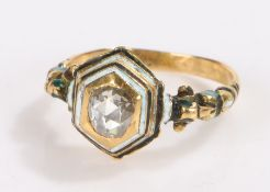 late 17th/ early 18th century diamond ring, the central rose cut diamond housed in a hexagonal black