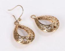 Pair of 9 carat gold hoop earrings, 4.7g