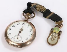 Continental silver pocket watch, the white enamel dial with Roman numerals and subsidiary seconds