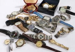 Wrist and pocket watches, to include pocket watch with visible movement, gentlemans and ladies