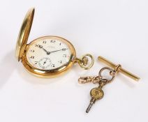 Limit gold plated hunter pocket watch, 9 carat gold clip, gold plated T bar