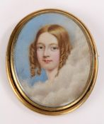 19th Century portrait miniature brooch, the central oval panel depicting a young lady amongst