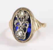 19th Century gold ring, the oval blue enamel head with a flowering urn set with rose cut diamonds,