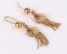 Pair of Italian 18 carat gold earrings, of shell form with hanging mesh links, one damaged, 4.8g