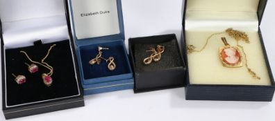 Two pairs of gold coloured metal earrings, gold plated necklace, rolled gold pendant and necklace,