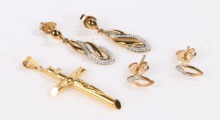 Two pairs of 9 carat gold earrings, 9 carat gold crucifix, 3.3g