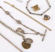 Three white metal watch chains, two white metal necklaces, Bonklip gilt metal watch bracelet, two
