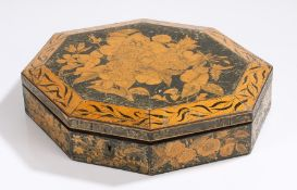 Regency penwork sewing box, the shaped box decorated with flowers opening to reveal compartments,