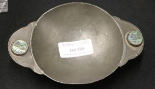 Arts and Crafts porringer, with inset abalone shell to the handles, 14cm x 9cm