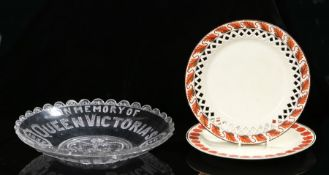 Two 18th Century creamware plates, together with a Queen Victoria commemorative glass dish (3)