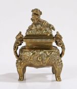 19th Century gilt bronze inkwell, modelled as a Chinese censer with dog of fo finial, 11cm high, 8cm