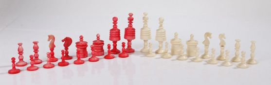19th Century chess set, in the barley corn pattern (one pawn missing)