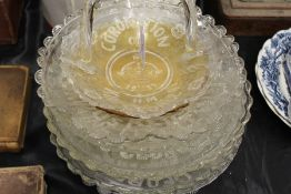 Collection of Bagley Royalty related glass plates and a matching basket, to include King George