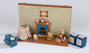 Colour Box Miniatures Peter Fagan's teddy bear collection figures, Binkie and Mr Perkins, boxed, cat