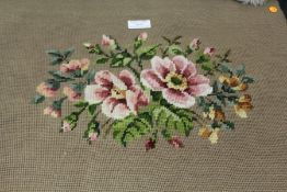 19th Century embroidered floral chair cover, 52cm