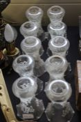 Ten glass lampshades with white etched scroll decoration (10)