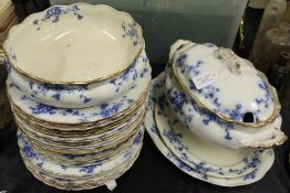 Furnivals Carnation pattern blue and white dinner service, comprising eight dinner plates, eleven