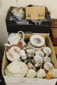 China and glassware, to include shell pattern teacups, blue and white plates, stemmed glasses etc.