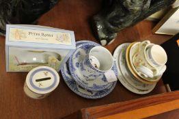 Pottery model of an elephant, Wedgwood Peter Rabbit bowl, Spode Edwardian Childhood plate, bowl