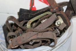 Collection of horse tack, stirrups, etc. (qty)