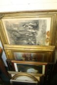 Pictures and prints, to include back and white print depicting children playing, overpainted print