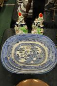 Three blue and white graduated meat plates, similar meat plate, pair of Staffordshire spill vases