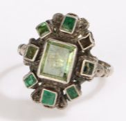 Silver ring set with green stones, ring size N, 5.2g