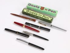 Fountain and other pens and pencils, to include Onoto, Platignum, Parker, Duro-Point etc. (8)