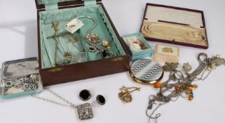 Costume jewellery, to include necklaces, earrings, rings, powder compact etc. (qty)