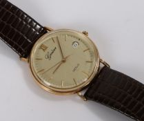 Geneve 9ct watch gentlemans wristwatch, the signed gilt dial with Roman and baton markers, date