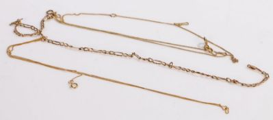 Two 9 carat gold necklaces, silver gilt necklace, gold 1.3g (3)