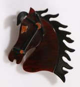 Lea Stein style brooch, modelled as a horses head, 55mm wide, 68mm high