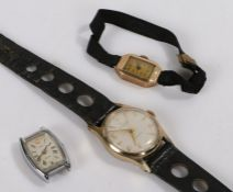 Ladies 9 carat gold wristwatch, the dial with Arabic markers, manual wound, Ingersoll gold plated
