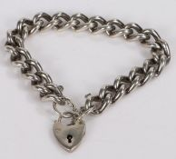 Silver bracelet with heart shaped padlock clasp, 53.5g